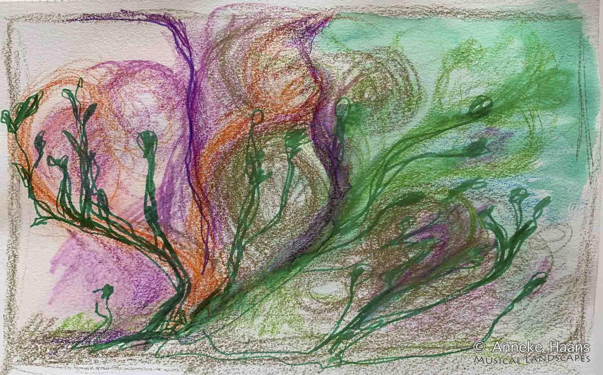 Jouer Au Parc Rouge | Kleurpotlood en viltstift op papier | 24 x 15,5 cm