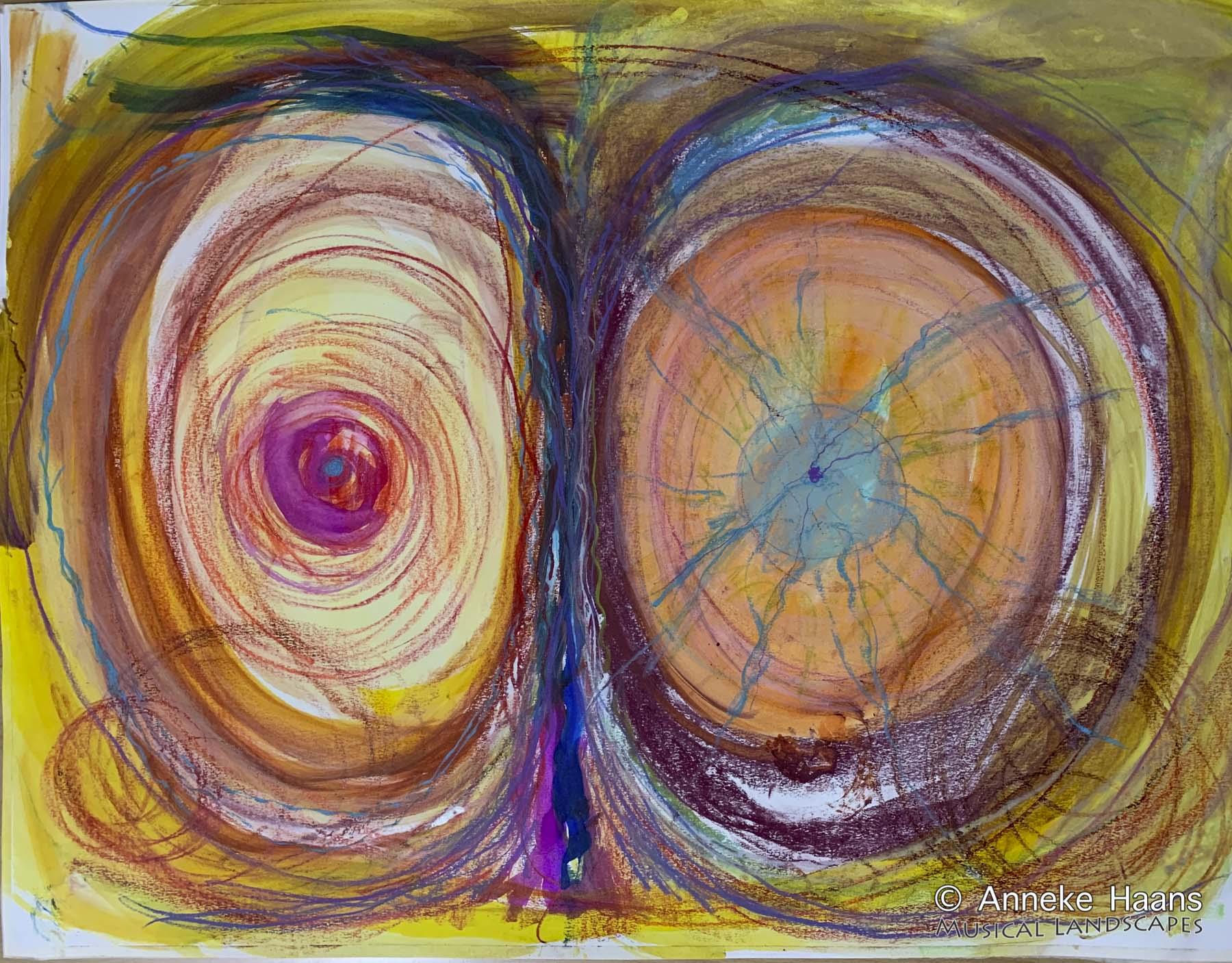'Twee-eenheid' | Tracking Tilburg | Pastelkrijt, bijenwaskrijt, aquarelwaskrijt, ecoline, inkt op papier | 94,5 x 73 cm